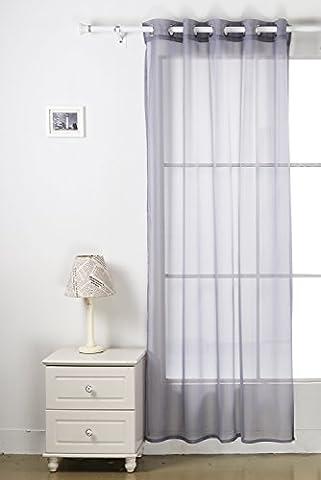 Deconovo Rideau Voilage Transparent Uni Anneaux à Oeillets pour Fenêtre 140x240 cm Gris Souris