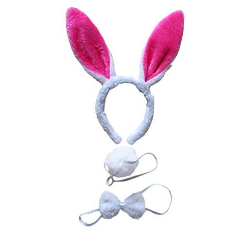 LUOEM Bunny Kostüm-Set mit Haarreif Fliege Schwanz für Kinder Erwachsene Party Cosplay Weihnachten Kostüm 3 Stücke (Weiß und Roserot)
