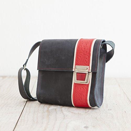 Lederhandtasche, femininer Crossbodybag, blaue Umhängetasche