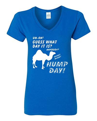 f130d1e1 V-Neck Ladies Guess What Day Is It? Hump Day Whoo Whoo Funny T