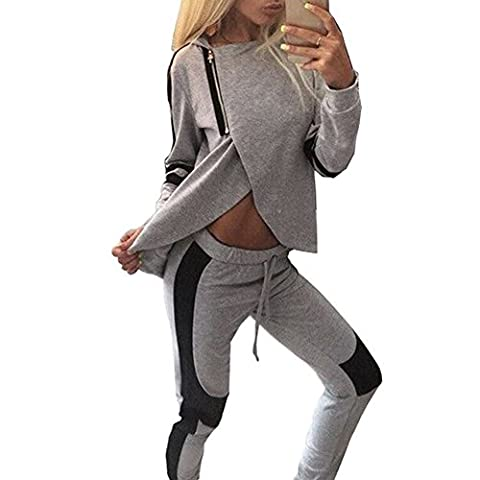 Women Tracksuit Set Split Zipper Pullovers Sweatshirt +Pant Two Piece Tracksuit Set Loungewear (M)