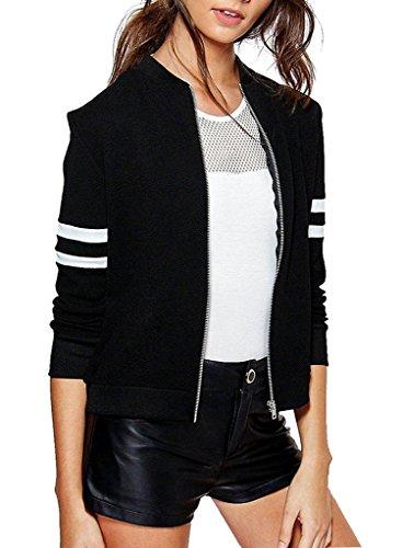 Minetom Damen Reißverschluss Bomberjacke Piloten Baseball Mantel Outwear Tops Coat Kurze Jacke Outwear Schwarz DE 38 Mantel Top Coat