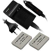2 x Batterie + chargeur pour Canon NB 5L convient Powershot S100 S110 SX 200 EST SX210 SX230 HS SX220 IXUS 860 870 950 960 970 980IS 990IS SD700 (pas SX240 SX260 HS)