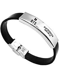 Bestomrogh Kpop BTS Bangtan Boys Titane Acier Sport Bracelet Combinaison Logo Bracelet A.R.M.Y Cadeau Chaud pour Les Fans