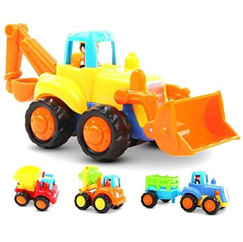 GoStock NO Baby Spielsachen Spielzeugauto Baufahrzeuge 4 in Einem Set für Kinder ab 1 2 3 Jahre, Traktor, Bulldozer, Kipper & Zementmischer