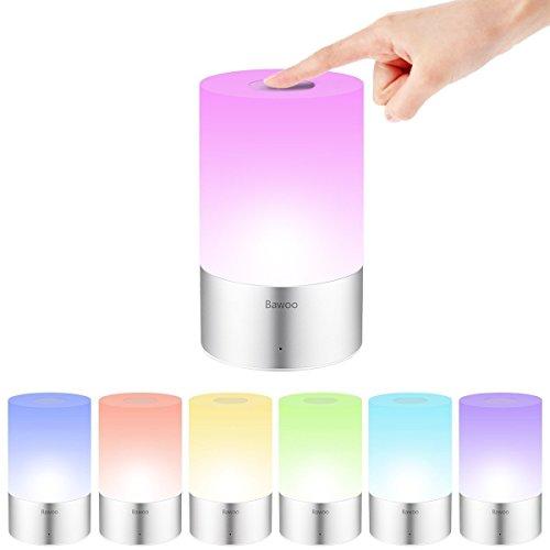 Lámpara de Mesa Recargable con Luz Blanca Cálida Regulable & Bawoo Color-Cambiante RGB, Lámpara Táctil con una iluminación de 360 grados para Habitaciones A+