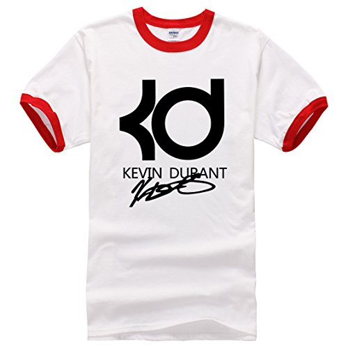 Men's Kevin Durant PrintedShort Sleeve Cotton Casual Red White