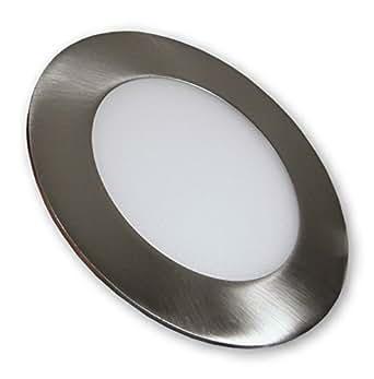 led panel deckenlampe 6 w mini panel einbauleuchte rund 230 v edelstahl optik geb rstet. Black Bedroom Furniture Sets. Home Design Ideas