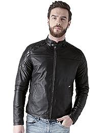 Bareskin Men's Quilted Design Shoulders Black Leather Jacket