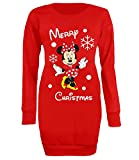 New Women's Minnie Mouse Merry Christmas Xmas Sweater Jumper Long Top (X-Large) Red