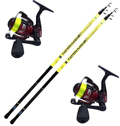 Globe Fishing Super Promo Kit Bolognese Angelrute 2 STK Bolognese Ruten mit Tornado 4 Meter + 2 Rolle Vigor SL300 FD