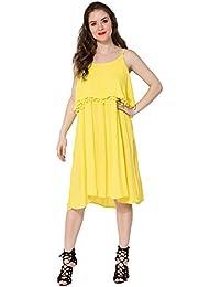 4fe862eac1 Secret Bazaar Women s Partywear Rayon Crepe Round Neck Solid Yellow Maxi  Dress
