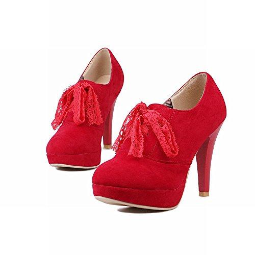Mee Shoes Damen elegant populär Geschlossen runder toe mit Lace Nubukleder Plateau Pumps mit hohen Absätzen Rot