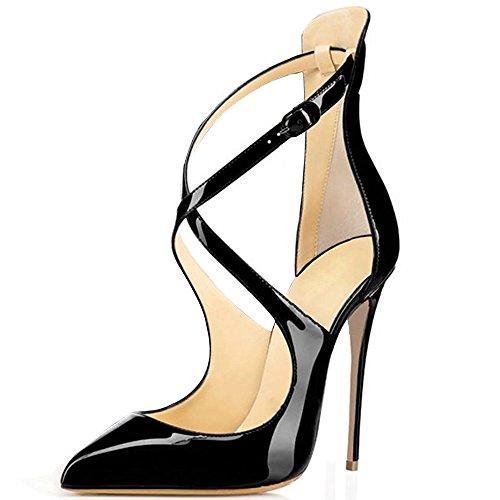 elashe Damen High Heels Cross Strap Klassische Pumps Geschlossene Spitze Zehen Übergröße Schuhe Schwarz EU45
