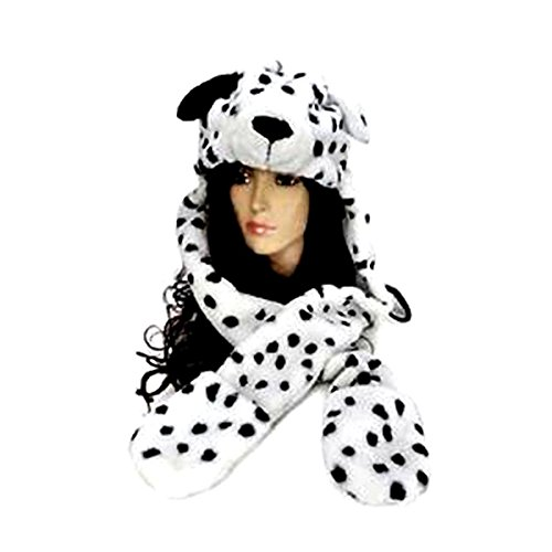 Pixnor Womens Mens Ragazzi Lovely Cartoon dalmata cane sciarpa sciarpe cappello guanti Set 3 in 1 per le donne ragazze ragazzi