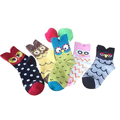 Lvein Damen Karikatur Socken Schön Eule Baumwolle Socke (5 ()