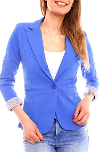 Easy Young Fashion Damen Jersey Blazer aus Baumwolle gefüttert 3/4-Arm (XL - 40, royal) (Royal Blauer Blazer)