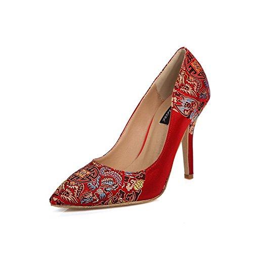 AllhqFashion Damen Ziehen Auf Stiletto Blend-Materialien Bestickt Spitz Zehe Pumps Schuhe Rot