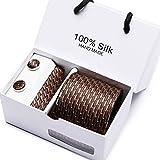 Elemental Goods [72 VARIATIONEN] Premium Herren Krawattenset - 3-teiliges Set - Luxus-Krawatte - Lange Größe 145cm x 8cm - Necktie Seide - Gewebt - Taschentuch - Manschettenknöpfe