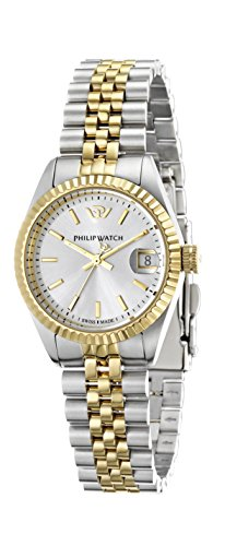 Philip Caribe Women's Quartz Watch with White Dial Analogue Display and Silver Stainless Steel Strap R8253107515
