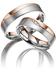 Anillo de compromiso (con grabado personalizable, de titanio, circonio y diamante)