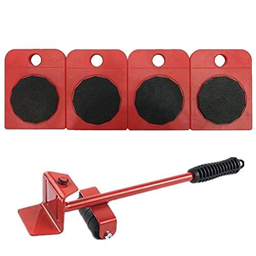 Wefond 1 ensemble d'outils pour soulever et déplacer un élévateur de meubles pour soulever des meubles et des équipements lourds, 1 tige de levage et 4 galets de déménagement (Rouge)