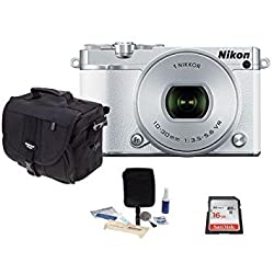 Nikon 1 J5 Mirrorless Digital Camera with 1 NIKKOR 10-30mm VR Lens, White - Bundle with Micro Camera Case, 16GB Class 10 Micro SDHC Card, Cleaning Kit