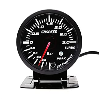 cnspeed 6,3 cm 60 mm Auto Turbo Boost Gauge 3 bar weiß & Bernstein Dual LED Display mit Peak ACHTUNG AUTO Gauge Auto Meter