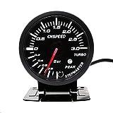 CNSPEED - Medidor de presión de 3 bares, color negro, 60 mm, con medidor de boost turbo alumbrado blanco y ámbar