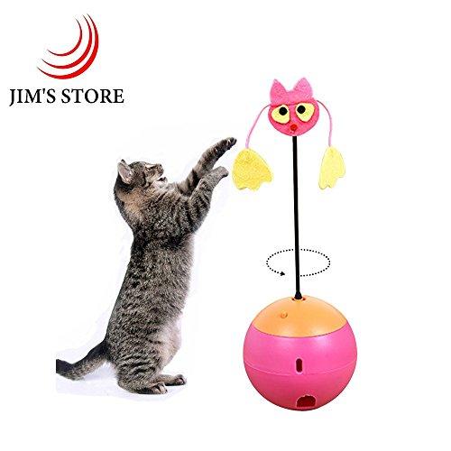 Katze Tumbler Spielzeug, JIM'S STORE Elektrische interaktive Katze Spielzeug Essen Leckage Bälle mit LED Licht Zeiger Kätzchen Spielzeug (Rosa)