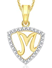 Meenaz Gold Plated 'L' Letter Pendant Locket Alphabet Heart