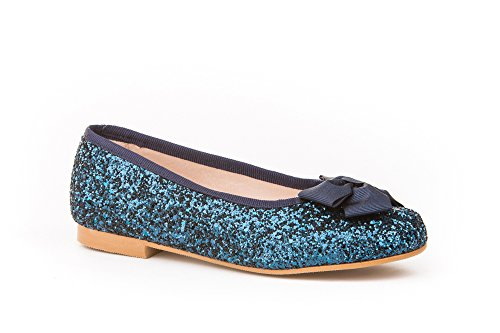 Ballerines pour fille en glitter, tout cuir, mod. 1577. Chaussures pour enfant Made in Spain, garantie de qualité. Bleu Marine