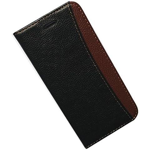 funda piel genuino para iPhone 6s Plus / 6 Plus 5.5 pulgadas, carcasa en folio, soporte plegable, ranuras para tarjetas, cierre magnetico