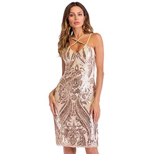 Kleid der Frau Damenmode Kleider Sexy Spaghetti-Trägern V-Ausschnitt Pailletten Kleid Cocktail Party Hochzeit Arbeiten Canonicals (Größe : M)