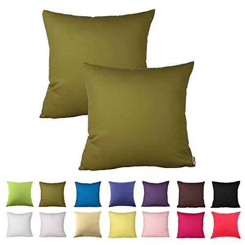 16in Dekorative Kissen (Queenie-2PCS Farbe Baumwolle dekorative Kissenbezug Kissenbezug für Sofa Überwurf Kissen Fall erhältlich in 14Farben & 5Größen, baumwolle, moosgrün, 16 x 16 inch (40 x 40 cm))