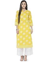 Varanga Women's Yellow Cotton Printed Kurta With White Solid Palazzo