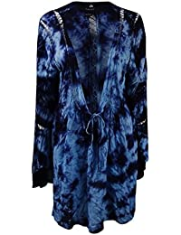 ba52aefa2d1 Raviya Women's Swimsuit Tie-Dyed Crochet-Inset Long Bell Sleeves Cover-Up (