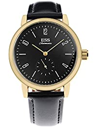 ESS Reloj Mecánico Cuero Negro Lujo Negocio Analógico Oro Automático ...