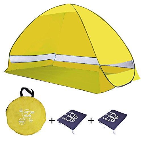 Tenda da spiaggia portatile di tipo pop-up, a montaggio automatico, con protezione UV 50+ e spazio giochi per bambini, per uso in interni o in esterni, in grado di ospitare 2 adulti con bambini, multicolore, con borse porta scarpe incluse, Yellow