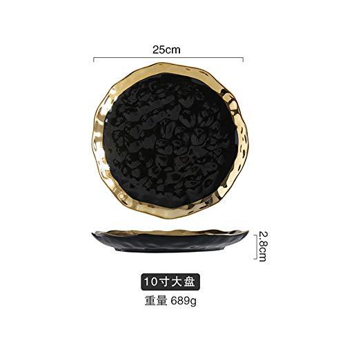 Europäische Keramik vergoldet Western Steak Platte Platinum Obst flache Platte Salatschüssel Geschirr Haushalt Teller 10 Zoll - Schwarzgold 25x2.8cm - Mikrowelle Glas Zoll 10
