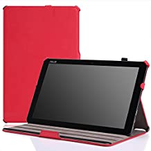 MoKo ASUS Transformer Book T300 Chi Funda - Slim-Fit Multi-Angle Folio Funda para Transformer Book T300 Chi 12.5 Pulgadas (2015 Verción) Windows 8.1 Tableta, ROJO