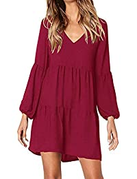 66195c438bef46 Kenoce Damen Kleid Langarm V-Ausschnitt A-Linie Kurze Mini Kleider Lose  Swing T