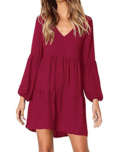 45d2542ea16c4a 6. kenoce Damen Kleid Langarm V-Ausschnitt A-Linie Kurze Mini Kleider Lose  Swing T-Shirt Kleid Blusen Tunika Weinrot M