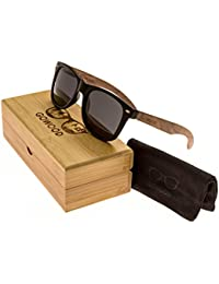 Walnut Wooden Mens and Womens Wayfarer Sunglasses with Matte Black Front and Dark Polarised Lenses GOWOOD