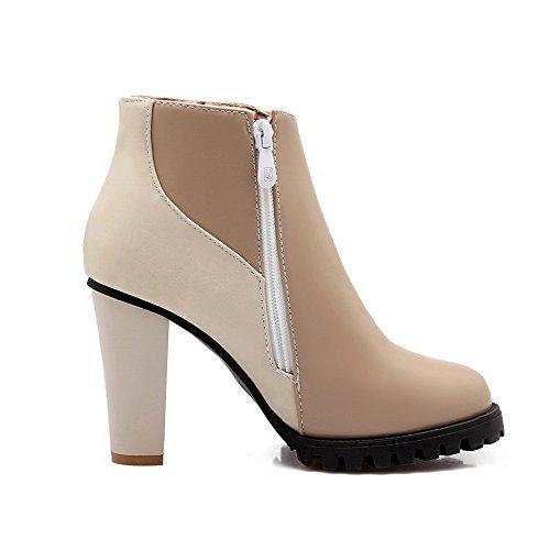 VogueZone009 Damen Blend-Materialien Niedrig-Spitze Rein Reißverschluss Stiefel, Aprikosen Farbe, 37