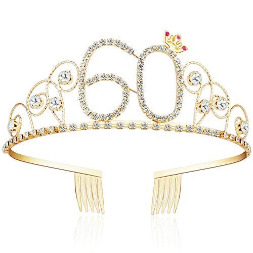 ArtiDeco Kristall Geburtstag Tiara Gold Birthday Crown Prinzessin Kronen Haar-Zusätze Gold Diamante Glücklicher 16/18/20/21/30/40/50/60/70/80/90/100 Geburtstag (60 Jahre alt) (Krone Gold Geburtstag)