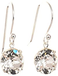 pewterhooter 925 Sterling Silver drop earrings expertly made with diamond white crystal from SWAROVSKI® for Women