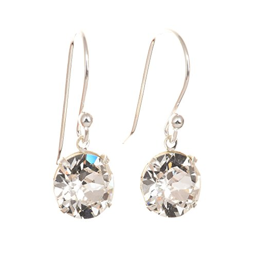 pewterhooter 925 Sterling silver drop earrings made with Diamond White crystal from SWAROVSKI� London gift box.