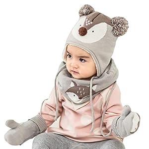 Azarxis Kinder Strickmütze Warme Beanie Winter Mütze, Schal und Winter Handschuhe mit Fleecefutter für Mädchen Jungen 1-4 Jahre