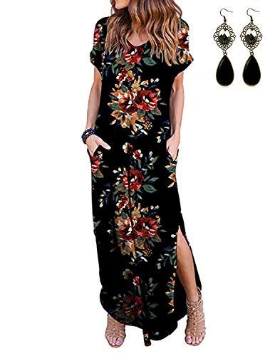 PIPIHU Damen Kleider Maxi Sommerkleid Casual V-Ausschnitt Kurzarm Split Lange Strandkleid Swing Boho Blumenmuster Kleid (Schwarz und Blumen, S) Langes Kleid-set